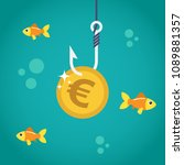coin euro on fishing hook and... | Shutterstock .eps vector #1089881357