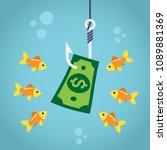 bill dollar on fishing hook and ...   Shutterstock .eps vector #1089881369
