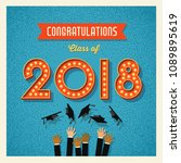2018 graduation card or banner... | Shutterstock .eps vector #1089895619