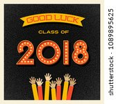 2018 graduation card or banner... | Shutterstock .eps vector #1089895625
