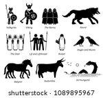 ancient norse mythology people  ... | Shutterstock . vector #1089895967