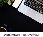top view desk work with cup...   Shutterstock . vector #1089904061