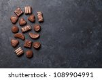 chocolate sweets. top view with ... | Shutterstock . vector #1089904991