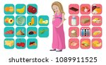 useful and harmful foods during ... | Shutterstock .eps vector #1089911525