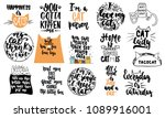 Stock vector hand drawn lettering quotes about cats collections isolated on the white background fun brush ink 1089916001