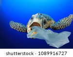 plastic pollution in ocean... | Shutterstock . vector #1089916727