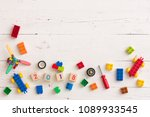 top view on children toys ... | Shutterstock . vector #1089933545