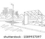 bus stop graphic black white...   Shutterstock .eps vector #1089937097