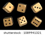 set of golden dice with black... | Shutterstock . vector #1089941321