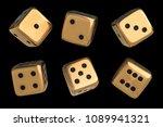 set of golden dice with black...   Shutterstock . vector #1089941321