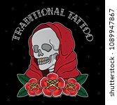 vector traditional tattoo skull ... | Shutterstock .eps vector #1089947867