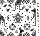bohemian hand drawn seamless... | Shutterstock .eps vector #1089951491
