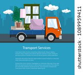 flyer with lorry  freight truck ... | Shutterstock .eps vector #1089959411