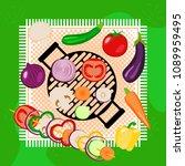 vegetables picnic in the open... | Shutterstock .eps vector #1089959495