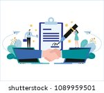 hand shake and contract... | Shutterstock .eps vector #1089959501