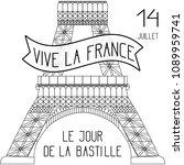 bastille day. july 14. concept... | Shutterstock .eps vector #1089959741