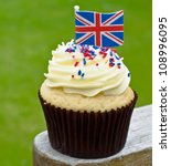 Cup Cake With Union Jack Flag