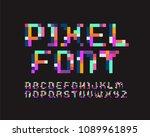pixel font 16 bit font | Shutterstock .eps vector #1089961895
