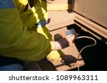 certifies miner officer wearing ... | Shutterstock . vector #1089963311