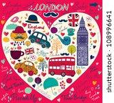 vector set of london symbols | Shutterstock .eps vector #108996641