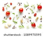 tomatoes and various herbs and... | Shutterstock . vector #1089970595