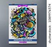 cartoon hand drawn doodles sea... | Shutterstock .eps vector #1089976574