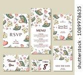 set of wedding invitations.... | Shutterstock .eps vector #1089978635