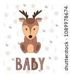 cartoon nursery poster for kids.... | Shutterstock .eps vector #1089978674