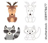 coloring page with animal. wild ... | Shutterstock .eps vector #1089978677