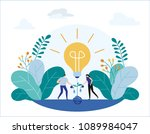 group small people grow plants... | Shutterstock .eps vector #1089984047