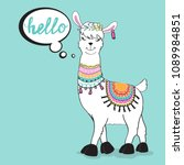 a funny llama says hello on a... | Shutterstock .eps vector #1089984851