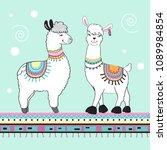 cute cartoon llama on a blue... | Shutterstock .eps vector #1089984854