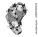 carp fish and chrysanthemum... | Shutterstock .eps vector #1089990929