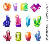 shiny precious natural crystals ... | Shutterstock .eps vector #1089992474