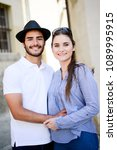 cheerful young couple on a... | Shutterstock . vector #1089995915