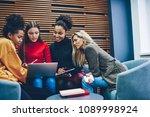 crew of multiracial female... | Shutterstock . vector #1089998924