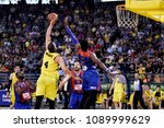 Small photo of Thessaloniki, Greece - May 5, 2018. Player of Aris BC Eleftherios Bohoridis (Number 4) wins a rebound during a Greek Basket League game between Aris BC and Panionios BC.