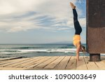 woman meditating in yoga pose ... | Shutterstock . vector #1090003649