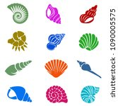 tropical sea shell icons set...   Shutterstock .eps vector #1090005575