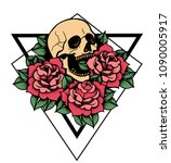 rose tattoo with skull.... | Shutterstock .eps vector #1090005917