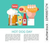 hot dog. hand holding a hot dog ... | Shutterstock .eps vector #1090007174