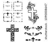 cross icons set. obituary... | Shutterstock .eps vector #1090008647