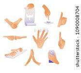 human hands and gestures set  ... | Shutterstock .eps vector #1090008704