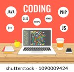 programming  web development... | Shutterstock .eps vector #1090009424