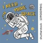 astronaut sleeping in space.... | Shutterstock .eps vector #1090009841