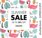 summer sale card with cute... | Shutterstock .eps vector #1090011359