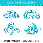 vector wave icons  simple... | Shutterstock .eps vector #1090013471