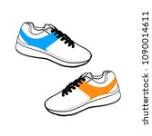 pair of sneakers on white... | Shutterstock .eps vector #1090014611