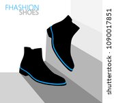 black pair of fashion shoes... | Shutterstock .eps vector #1090017851