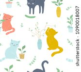 vector seamless cute cats and...   Shutterstock .eps vector #1090018007